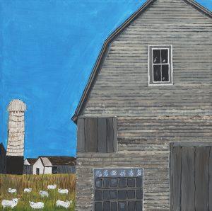 landscape art on canvas barn