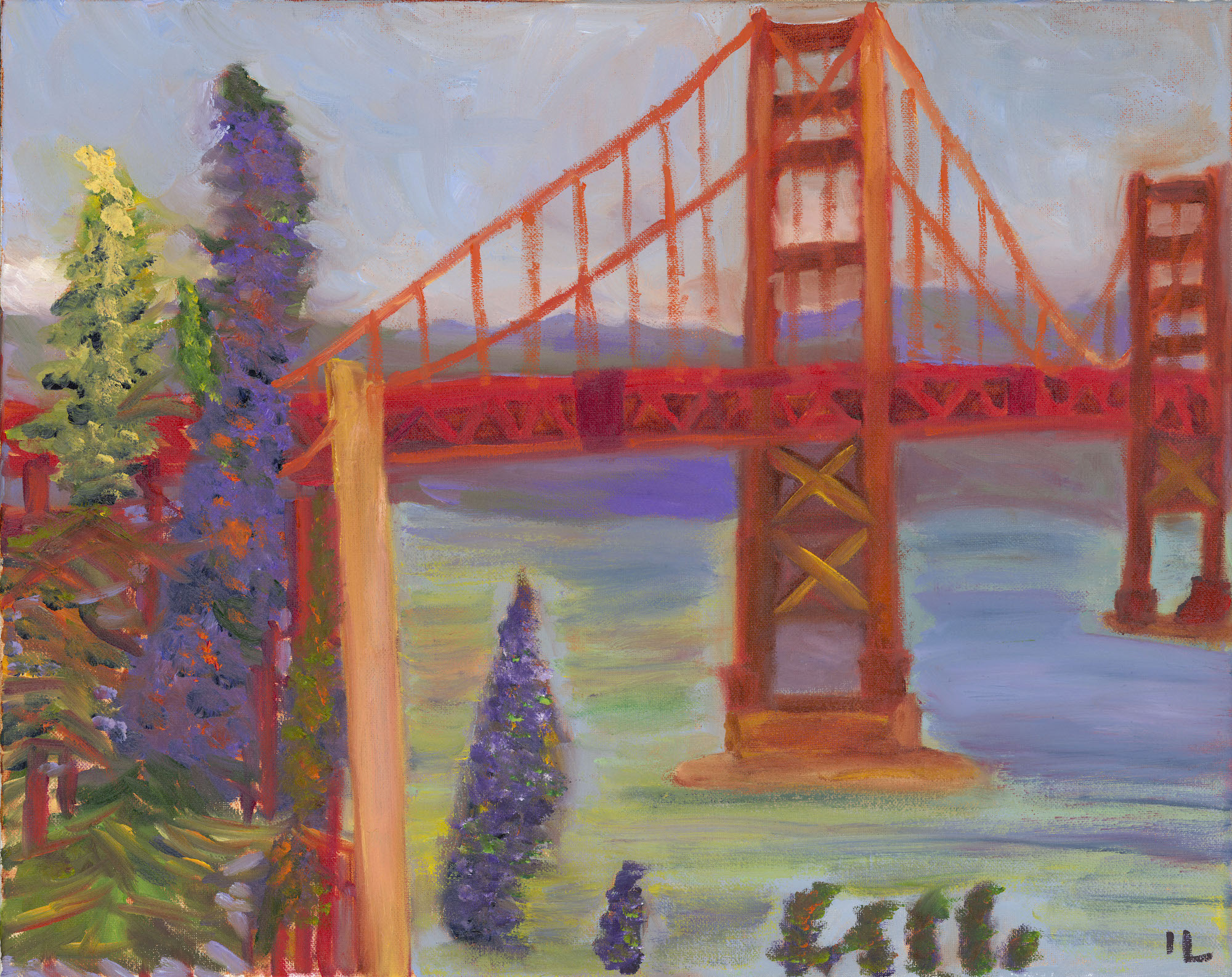 golden gate bridge acrylic art on canvas landscape