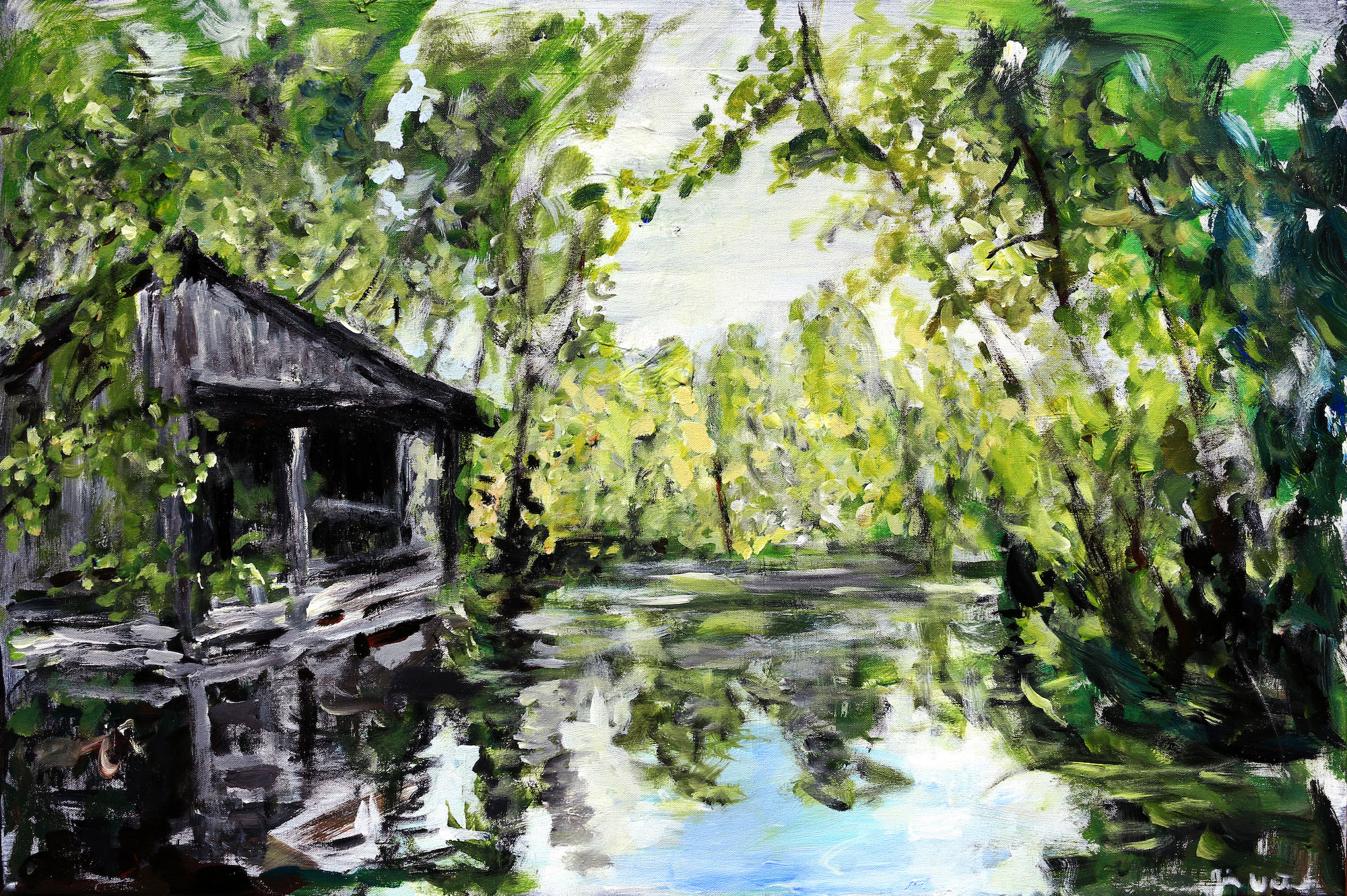 acrylic landscape on canvas louisiana bayou